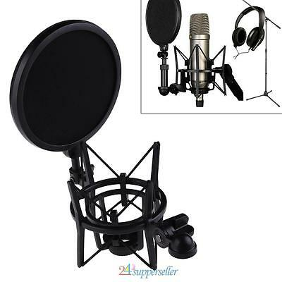 Audio Microphone Mic Professional Shock Mount with Pop Shield Filter Screen UK