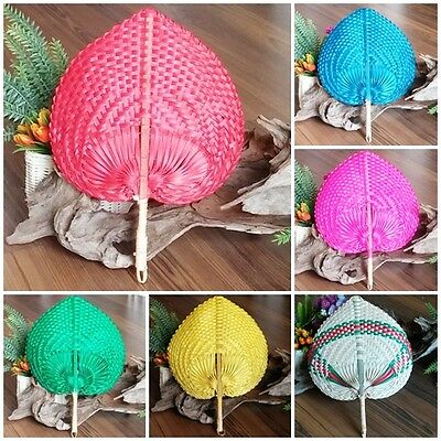 Thai Bamboo Hand Fan Handmade Craft Collectible Decor Gift Woven Native Style
