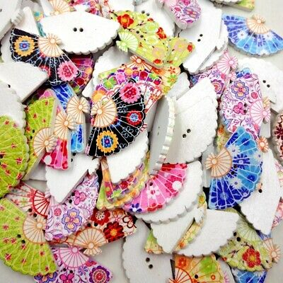 100x Wooden Buttons Fan Decorative 2 Holes Fit Sewing Scrapbooking Craft DIY