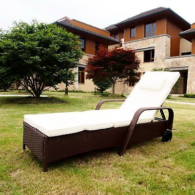 FoxHunter Rattan Day Chair Recliner Sun Bed Lounger Outdoor Garden Patio Brown