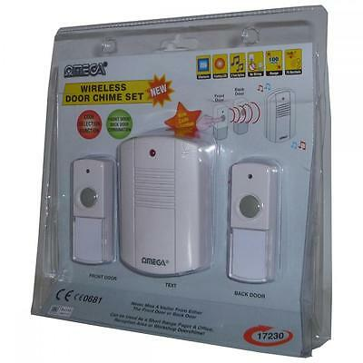 Omega 17230 Battery Powered Mobile Wireless Cordless Door Chime Twin Push White