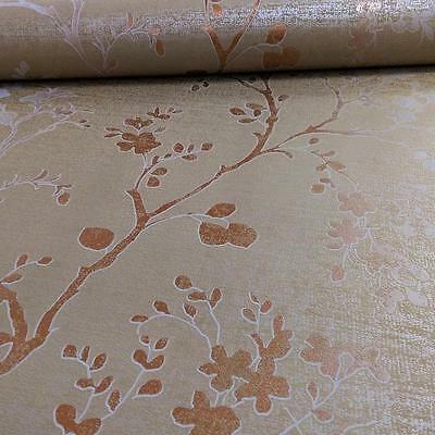 Arthouse Orabella Floral Pattern Flower Leaf Metallic Vinyl Wallpaper 673400