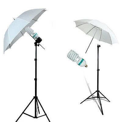 2x 135W Photo Studio Photography Continuous Umbrella Light Stand Bulb Lamp Kit