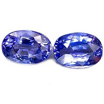 NATURAL TOP BLUE TANZANITE LOOSE GEMSTONE  (2 pieces) OVAL-FACET