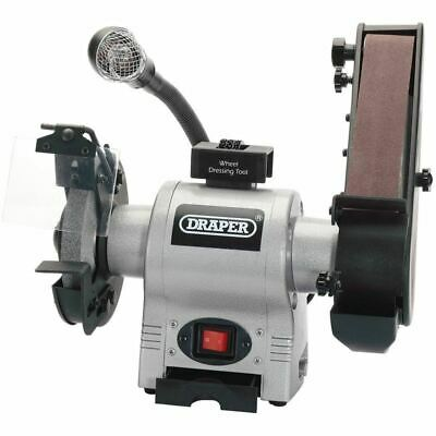 Draper 150mm 370W 230V Bench Grinder with Sanding Belt and Worklight 05096