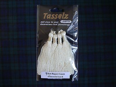 Craft & Sewing - Sateen Fabric Tassels 6cms - Cream - 4 Pack