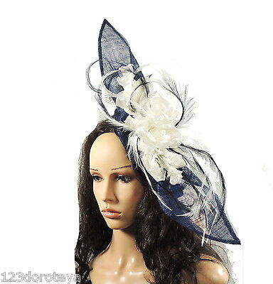 Navy Cream Fascinator Hat for weddings/ascot E3