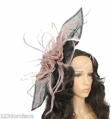 Black Dusky Pink Fascinator Hat for weddings/ascot E3