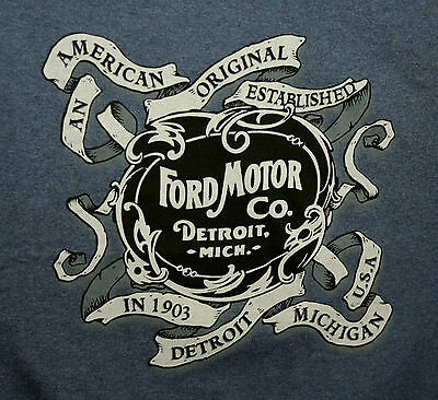 Ford Motor Co. Automotive Company Detroit Mich 1903 Car Blue T-Shirt New LG