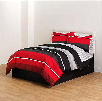 Red Black Gray Striped 8 piece Comforter Bedding Set Twin Size