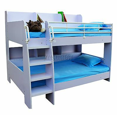 FoxHunter MDF Wooden Frame Bunk Bed Single 3FT With Shelves Kids Boy Girls White