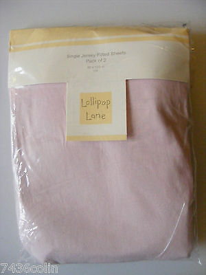 Pack of 2, Lollipop Lane, Jersey Fitted Sheets in Pink to fit Cot, 60 by 120cm