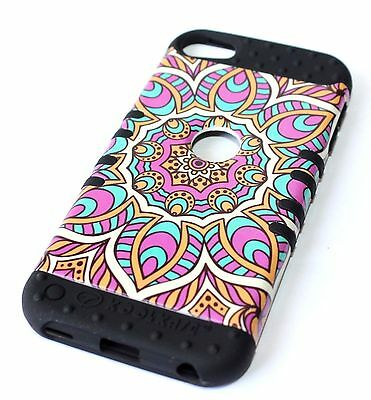 For iPod Touch 5th 6th Gen -HYBRID HARD&SOFT ARMOR CASE PURPLE BLUE AZTEC FLOWER