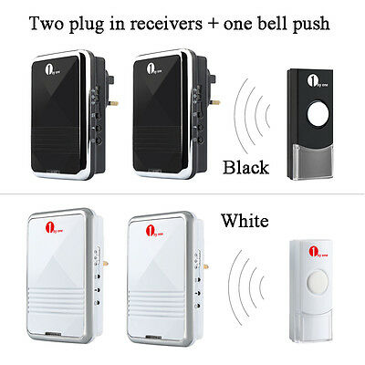 Cordless Twin Mains Wireless Door Bell Kit Visitor Chime 36 Tones 100M Range