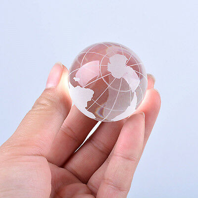 LS 40mm Frosted Crystal Earth Globes Clear World Ball Marble Globe Wholesale