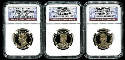 2016 S Presidential Dollar 3 Coin Proof Set NGC PF69 Ultra Cameo ER 13CPS