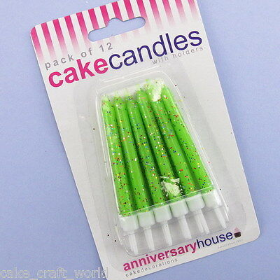 Pack of 12 Green Glitter Candles & Holders
