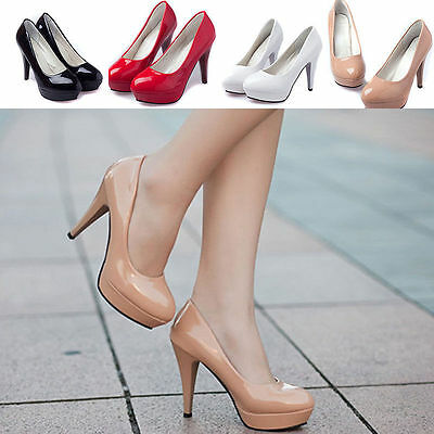 Womens Patent leather Working Shoes Round Toe Stiletto High Heels Platform Pumps
