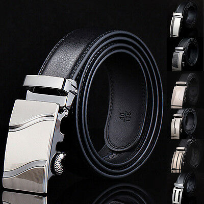 Fashion Genuine Leather Men's Automatic Buckle Belts Waist Strap Belt Waistband