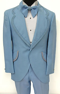 True Vintage Blue Tuxedo Jacket with Pants Wedding Prom Costume Retro 1970's 42L