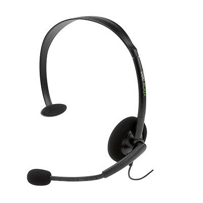 OFFICIAL Microsoft xBox 360 Wired 2.5mm Chat Headset with Mic Headphones BLACK