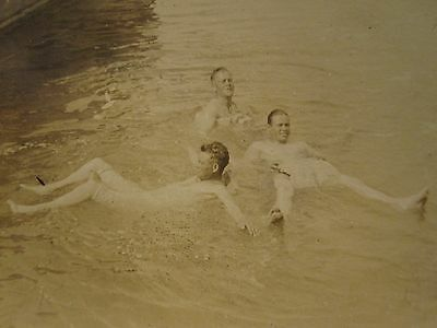 Antique Vintage Three Young Men Water Play Boat White Skin Floater Gay Int Photo