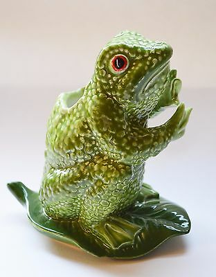 Frog on Lily Pad Vase Container Utensil Holder  Hand Painted Made in  Nove Italy