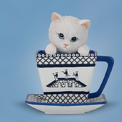Overflowing with Peace - Blue Willow Tea Cup Cats Figurine Bradford Exchange