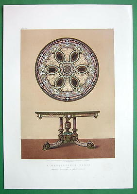 MARQUETRY Marqueterie Table English Design - 1862 VICTORIAN Color Print