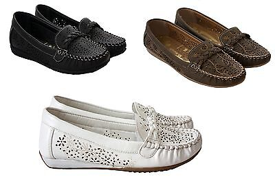 Ladies Womens slip on flat moccasin loafers comfort work pumps casual shoes