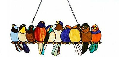 River Of Goods 9.25 H Tiffany Style Stained Glass Birds On A Wire Window Panel