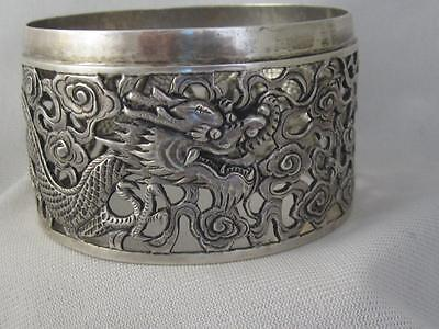 Anique Chinese Export Wang Hing 900 Silver Dragon Wine Bottle Holder C) 1900