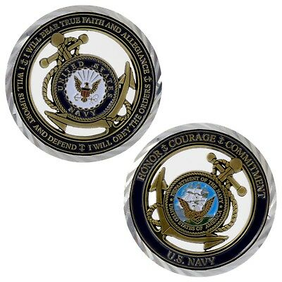 U S Navy USN Core Values Challenge Coin Military Sailor Unit Cutout Nickel