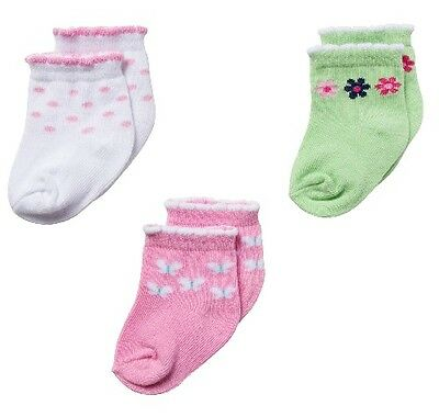 Gerber Girl 3-Pk Ankle Bootie Socks Pink Butterfly Green Flowers 0-3M BABY GIFTS