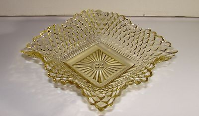 Vintage Federal Glass Yellow Diamond Square Bon Bon Ruffled Ashtray Bowl Dish