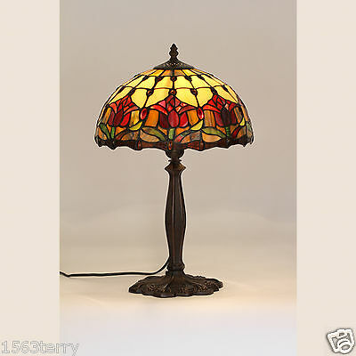 Red Tulip Small Tiffany Style Table Lamp Light Bedside -Will Ship Australia Wide