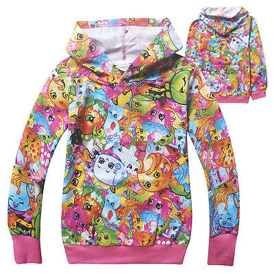 NWT Kids Baby Girls Hoodies Shopkins Sweet Coat Cartoon Holiday Hooded Clothes