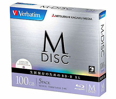 1000 Years Verbatim Bluray M-Disc BD-R XL 100GB 4x Speed Inkjet Printable 5 Pack