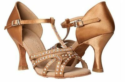 New Women's Brown Satin Latin dance shoes Adult female soft outsole Salsa shoes