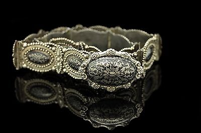 Antique Original Perfect Silver Niello Decorated Ottoman Amazing Belt