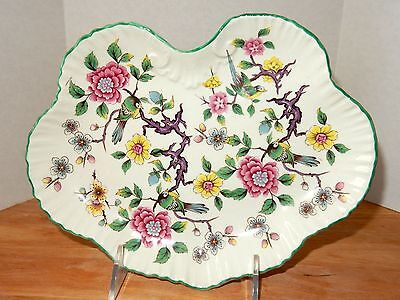 Staffordshire England James Kent Chinese Rose Butterfly Shape Tray Floral Birds
