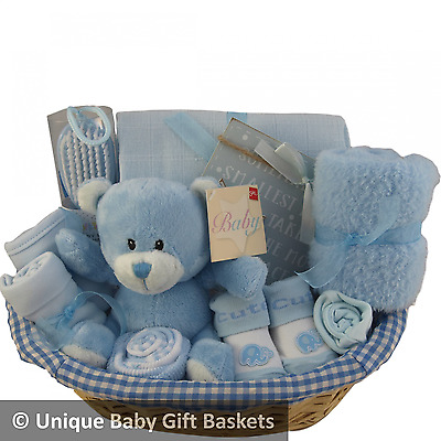 Baby gift basket hamper boy 10 items baby shower nappy cake new baby gift unique