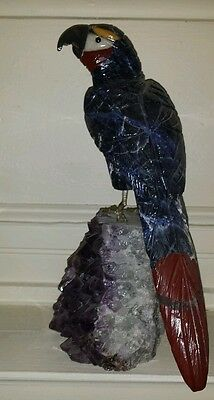 """14"""" Lapis Lazuli Carved Crystal McCaw Parrot Sculpture on a Amethyst Geode Base"""