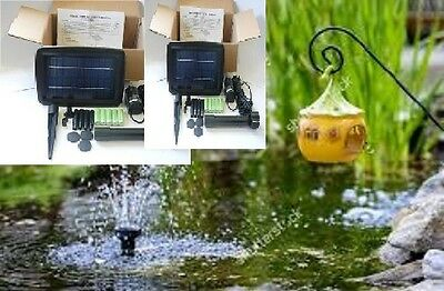 2 X Solar 2W Pond Fountain Water Pump 175Lph,rechargeable Batteries, Aust Owned