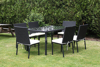 ��Rattan Table and Chairs Dining Set Garden Outdoor Patio Top Glass Cushion����