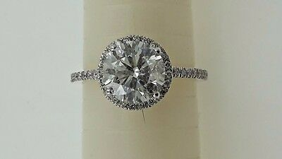 2.92  Ct  E/si1 Round Diamond Solitaire Engagement Ring 14 K White Gold