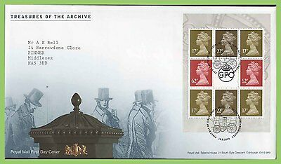 G.B. 2009 Treasures of Archive booklet pane First Day Cover