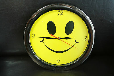 Vintage rare 1990s Smiley Face Acid House wall clock