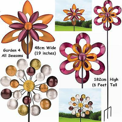 "19"" Double Kinetic Windmill Wind Spinner Sun Catcher Garden Stake Regal Art Gift"