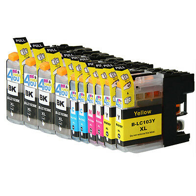 10 Non-Oem Ink Cartridge Brother Lc101 Lc-103 Xl Mfc-J245 Mfc-J285Dw Mfc-J4310Dw